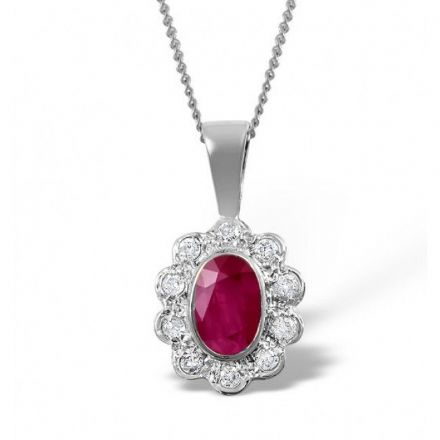 18K White Gold 0.10ct Diamond & 6mm x 4mm Ruby Pendant, DCP04-RW